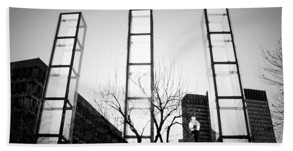 Black And White Hand Towel featuring the photograph Towers by Greg Fortier
