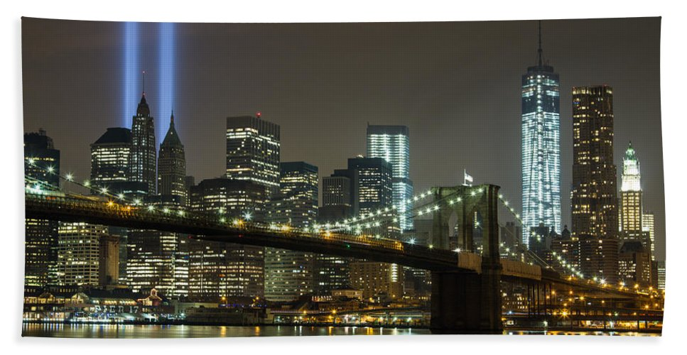 Nyc Hand Towel featuring the photograph Towers Of Light by Robert J Caputo