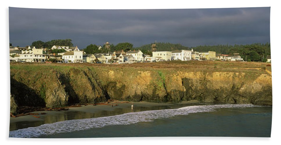 Photography Bath Sheet featuring the photograph Town At The Seaside, Mendocino by Panoramic Images