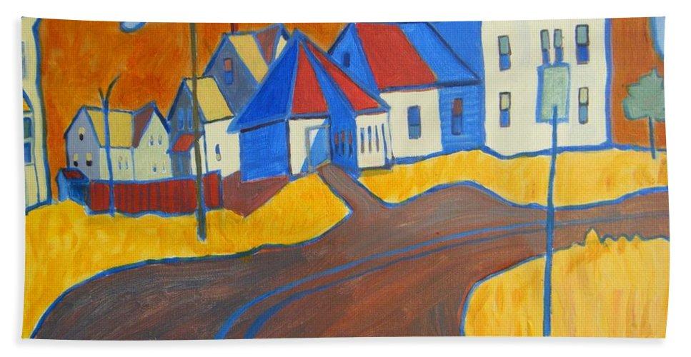 Buildings Bath Sheet featuring the painting Town Center Plaistow Nh by Debra Bretton Robinson