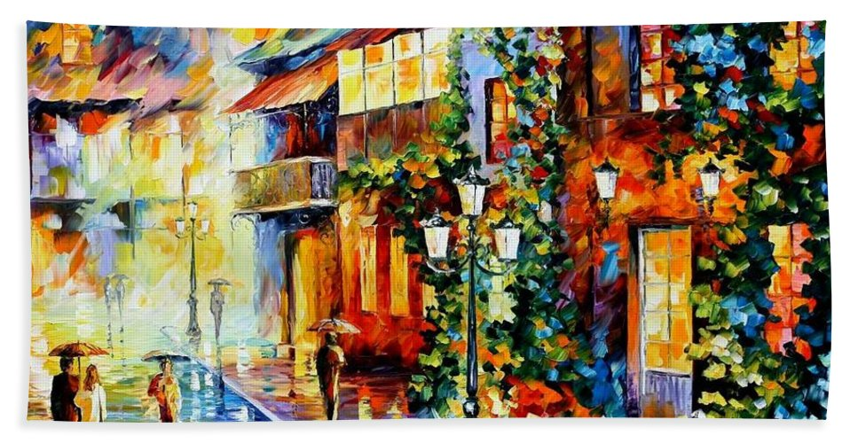 Afremov Hand Towel featuring the painting Town From The Dream by Leonid Afremov