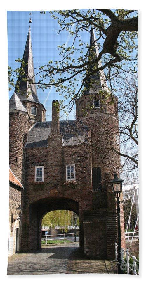 Town Gate Bath Sheet featuring the photograph Town Gate - Delft by Christiane Schulze Art And Photography