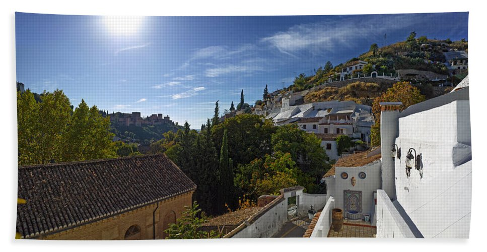Photography Bath Sheet featuring the photograph Town In A Valley, Sacromonte, Granada by Panoramic Images