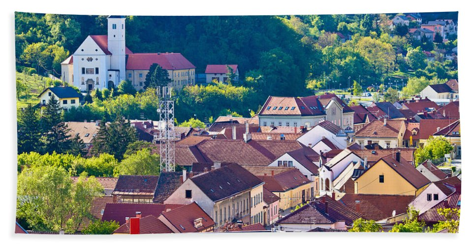 Croatia Hand Towel featuring the photograph Town Of Krapina Rooftops View by Brch Photography