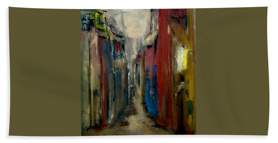 Abstract Bath Sheet featuring the painting Town by Rome Matikonyte