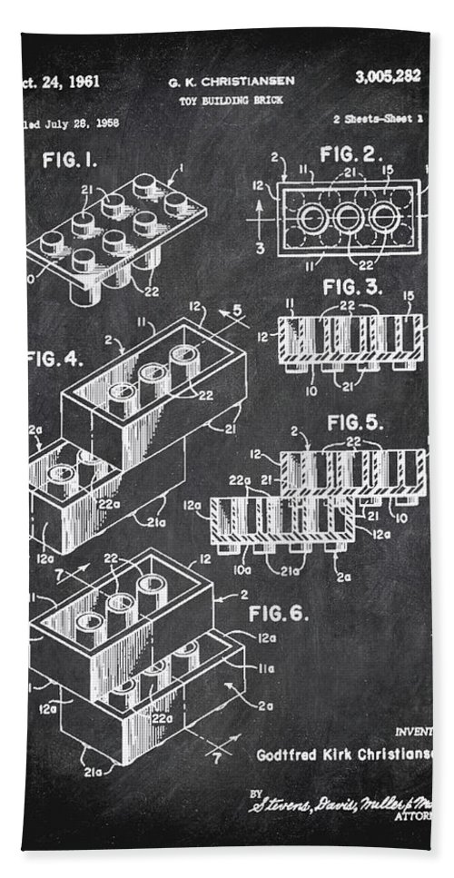 Patent Hand Towel featuring the mixed media Toy Building Brick Patent Drawing 1b by Brian Reaves