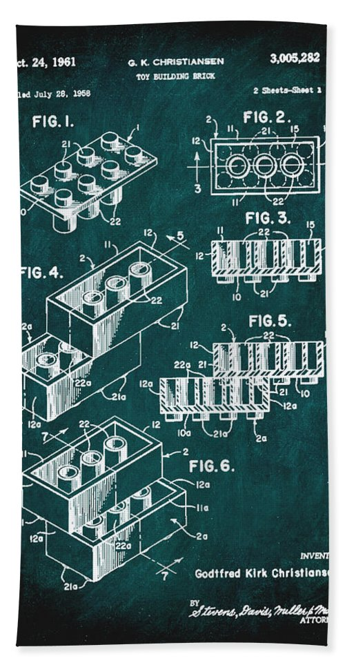 Patent Hand Towel featuring the mixed media Toy Building Brick Patent Drawing 1c by Brian Reaves