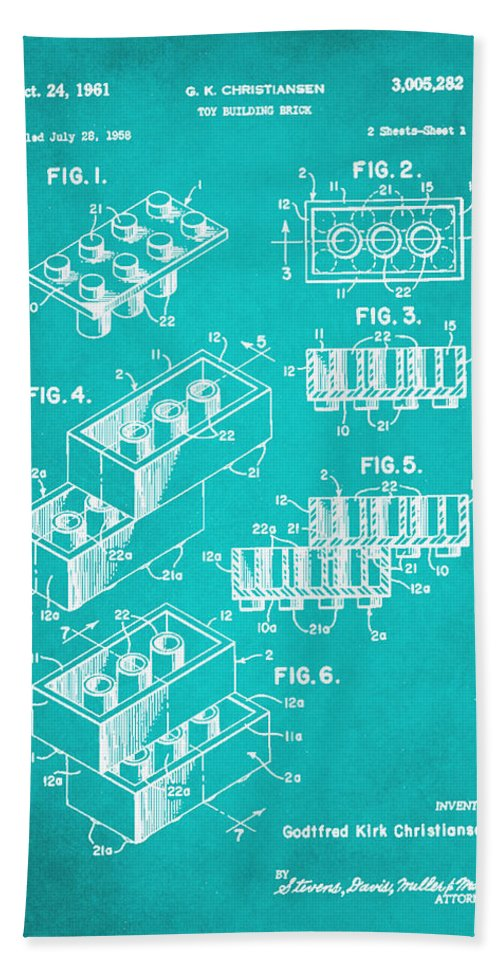 Patent Hand Towel featuring the mixed media Toy Building Brick Patent Drawing 1d by Brian Reaves