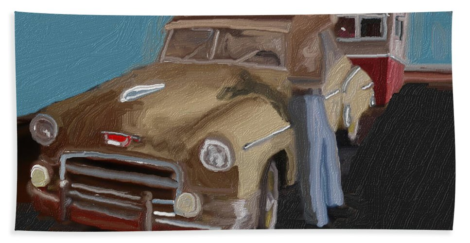 Toy Hand Towel featuring the digital art Toy Car Holiday by Julie Grimshaw