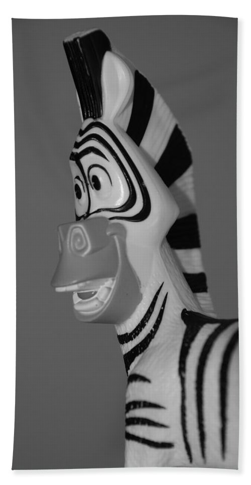 Black And White Bath Towel featuring the photograph Toy Zebra by Rob Hans
