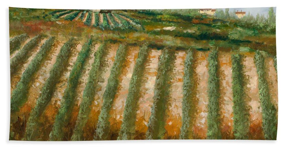 Vineyard Bath Towel featuring the painting Tra I Filari Nella Vigna by Guido Borelli