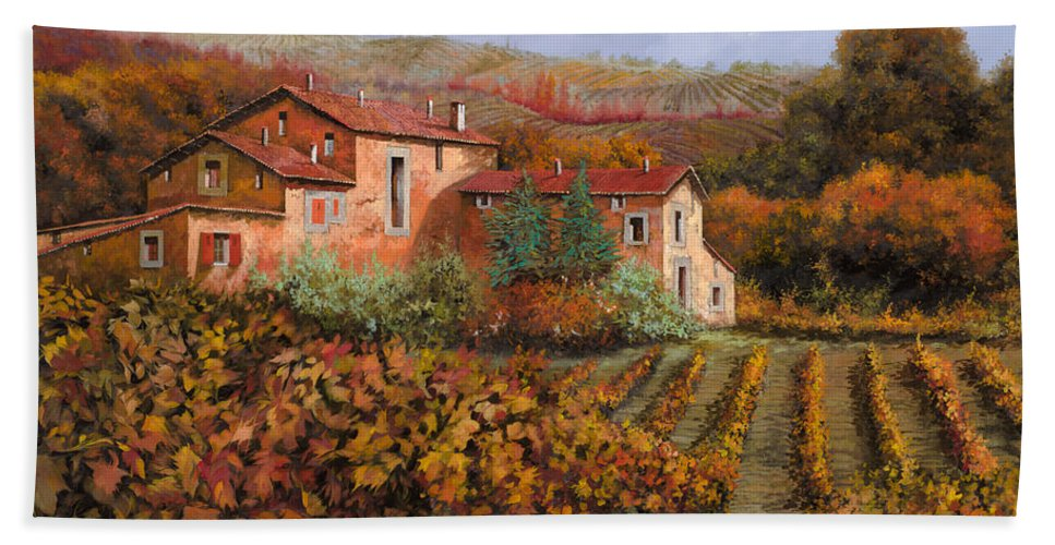 Wine Bath Towel featuring the painting tra le vigne a Montalcino by Guido Borelli