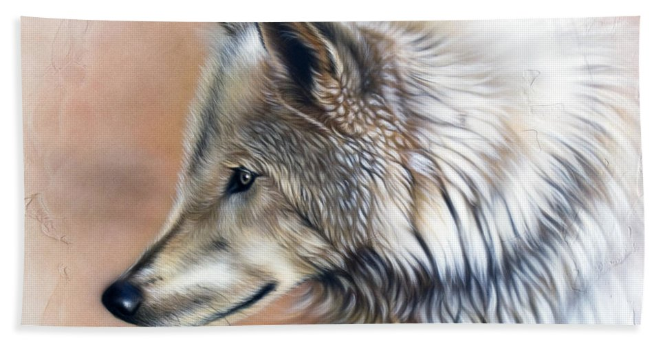 Wolves Hand Towel featuring the painting Trace IIi by Sandi Baker