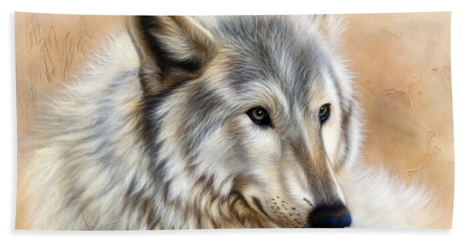 Acrylic Bath Towel featuring the painting Trace by Sandi Baker