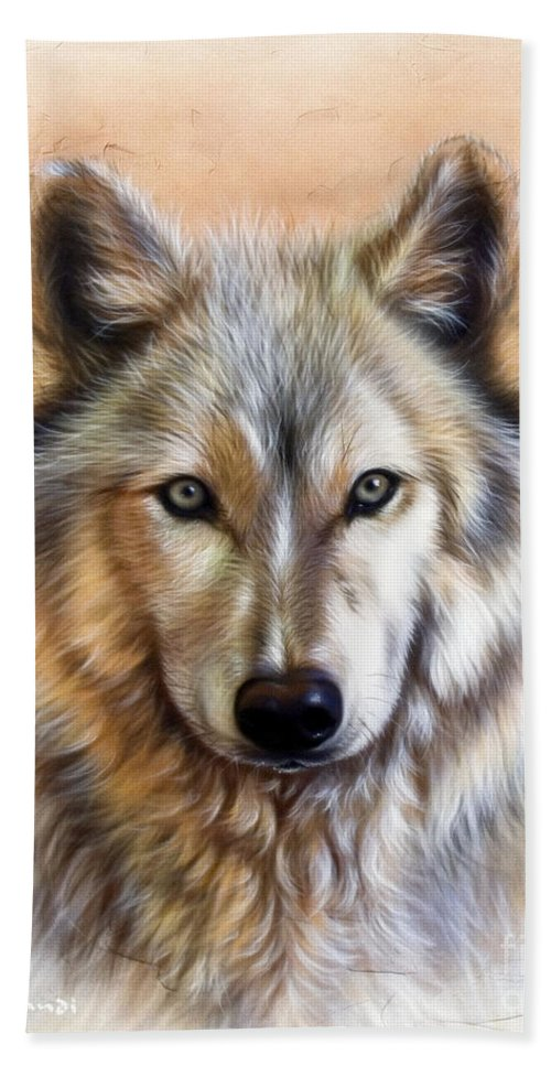 Wolves Bath Towel featuring the painting Trace Two by Sandi Baker