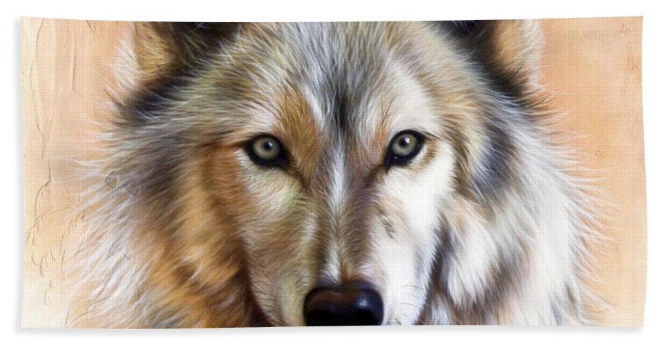 Wolves Hand Towel featuring the painting Trace Two by Sandi Baker