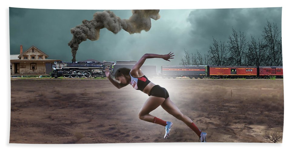 Track And Field Hand Towel featuring the mixed media Track And Field by Marvin Blaine