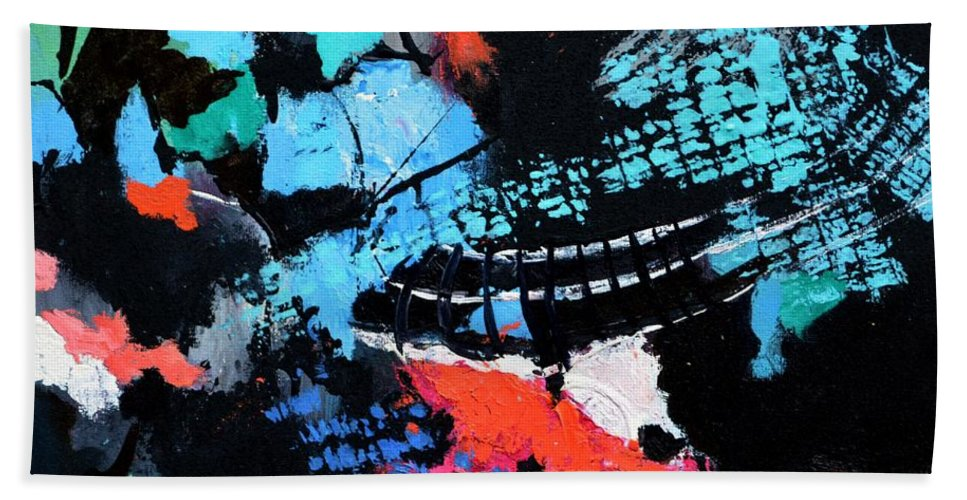 Abstract Bath Sheet featuring the painting Tracking Satellites by Pol Ledent