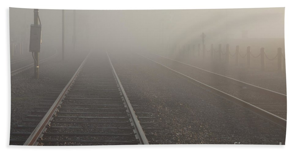 2011 Hand Towel featuring the photograph Tracks In The Fog by Larry Braun