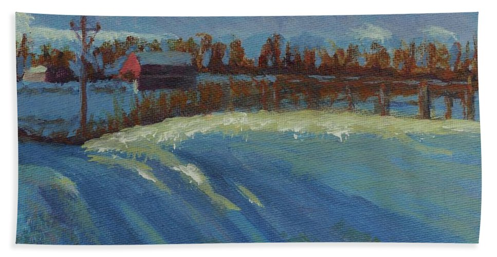 Snow Bath Towel featuring the painting Tracks In The Snow by Laura Toth