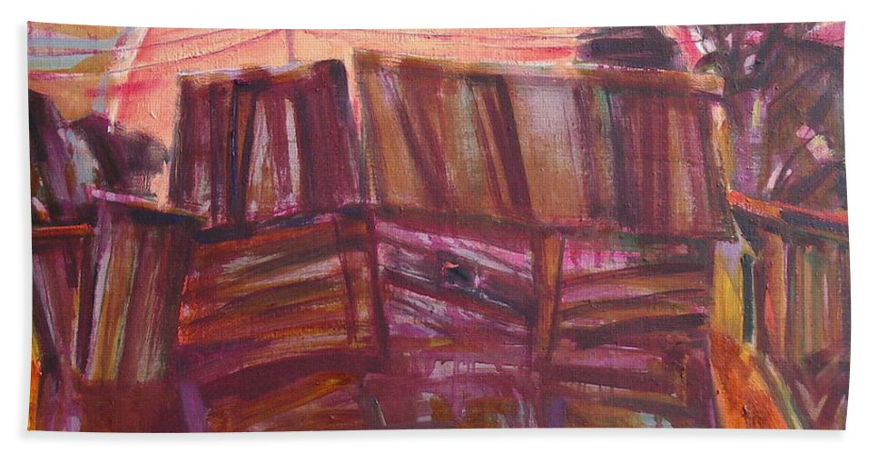 Oil Bath Towel featuring the painting Tracks by Sergey Ignatenko