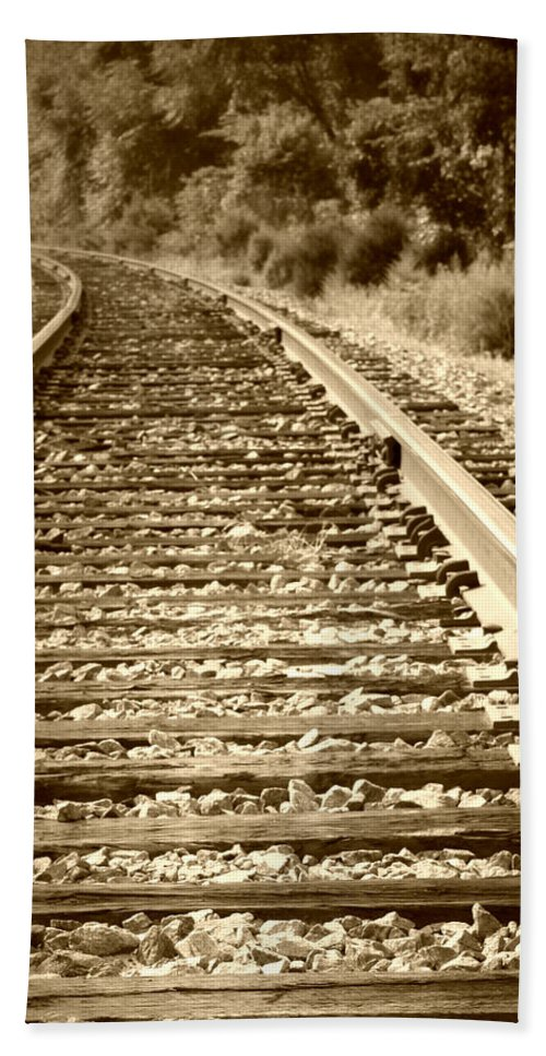 Tracks Bath Sheet featuring the photograph Tracks by Tina Meador