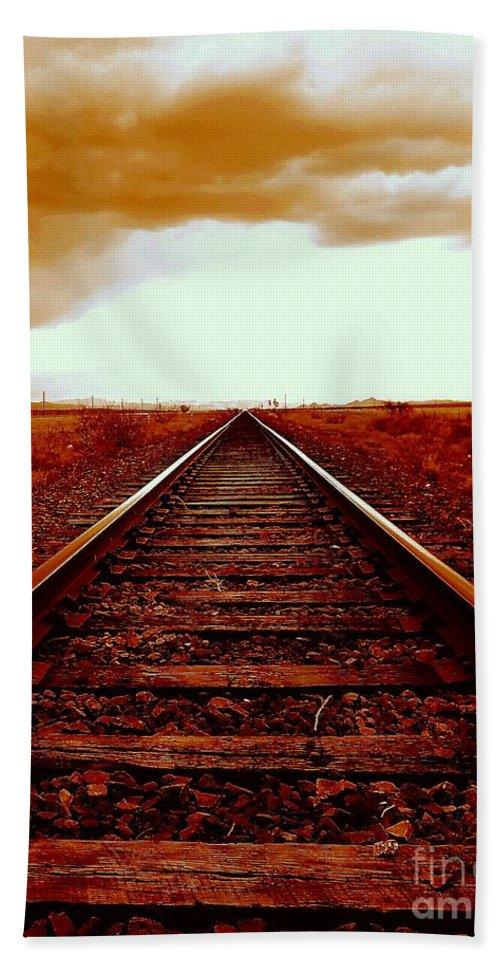Marfa Hand Towel featuring the photograph Marfa Texas America Southwest Tracks To California by Michael Hoard