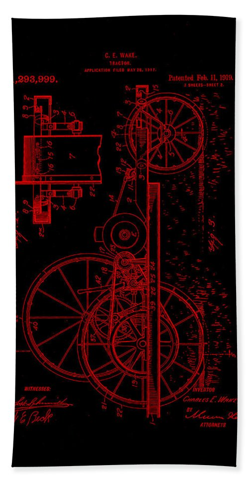 Patent Hand Towel featuring the mixed media Tractor Patent Drawing 1b by Brian Reaves