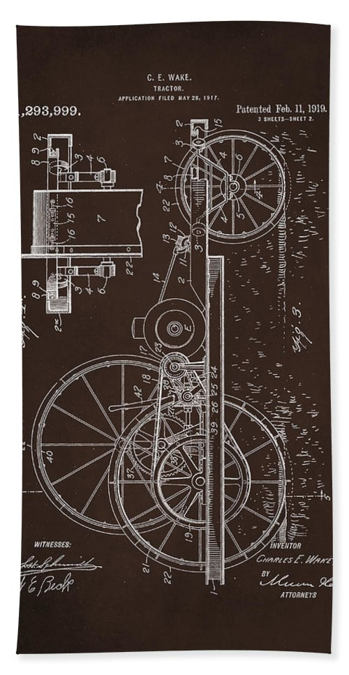 Patent Hand Towel featuring the mixed media Tractor Patent Drawing 1d by Brian Reaves