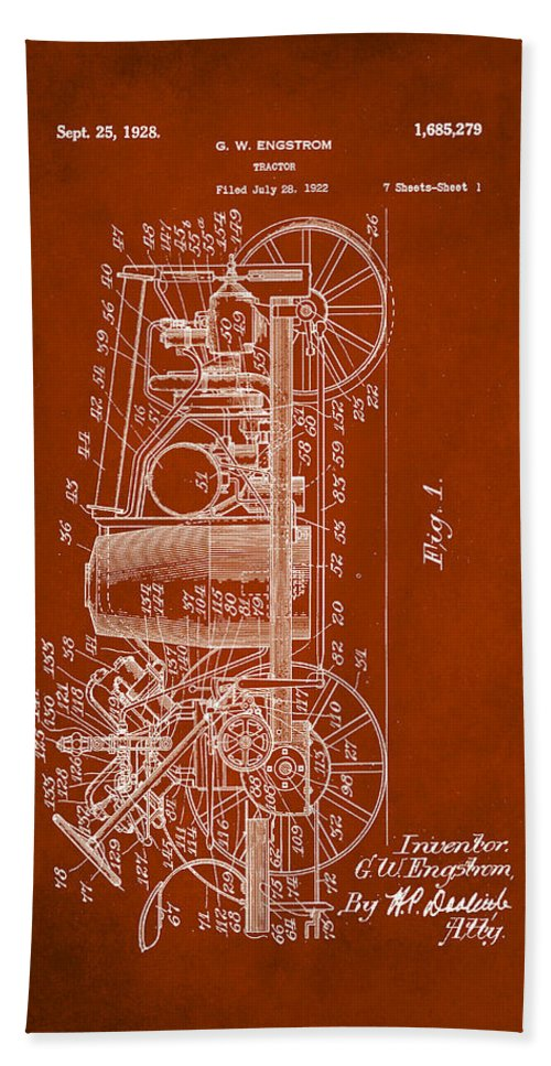 Patent Hand Towel featuring the mixed media Tractor Patent Drawing 2b by Brian Reaves