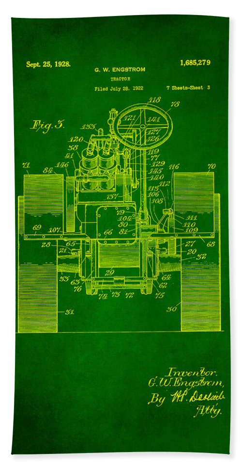 Patent Hand Towel featuring the mixed media Tractor Patent Drawing 4a by Brian Reaves