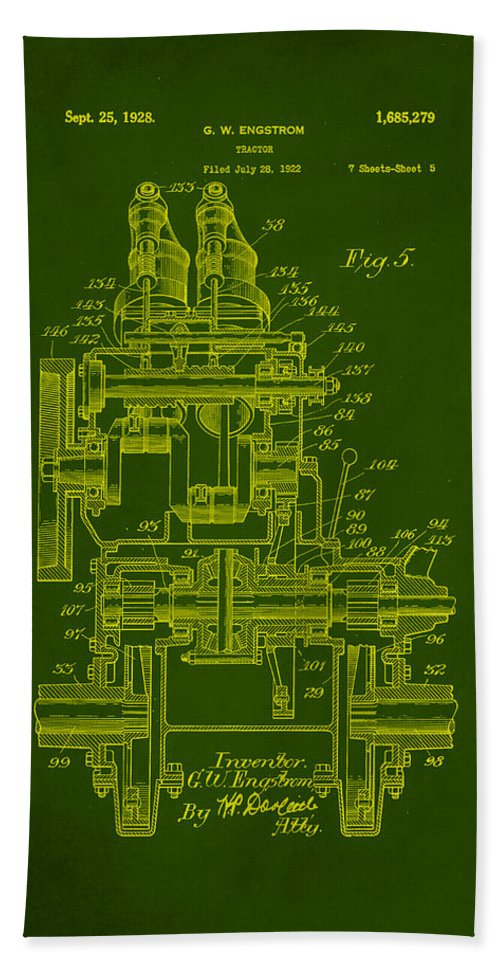 Patent Hand Towel featuring the mixed media Tractor Patent Drawing 5e by Brian Reaves