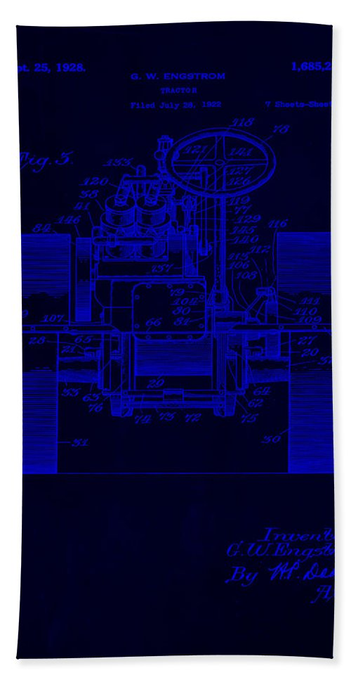 Patent Hand Towel featuring the mixed media Tractor Patent Drawing 5j by Brian Reaves