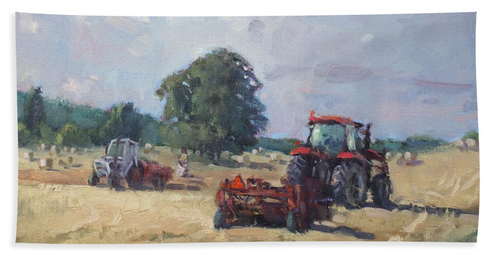 Tractors Bath Towel featuring the painting Tractors In The Farm Georgetown by Ylli Haruni