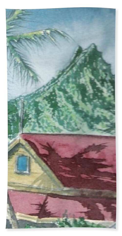 Landscape Hand Towel featuring the painting Trades by Wayne Monninger
