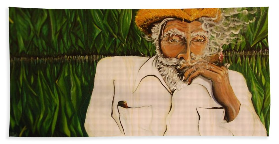 Tobacco Hand Towel featuring the painting Tradicion by Andres A Garcia-Velez