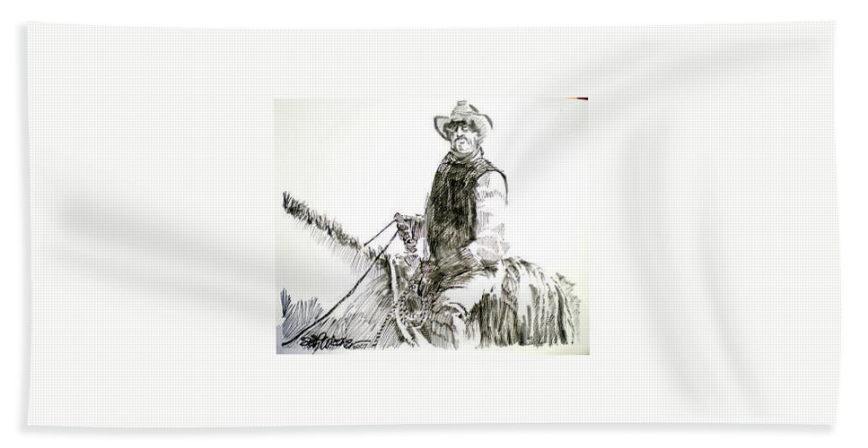 Trail Boss Bath Towel featuring the drawing Trail Boss by Seth Weaver