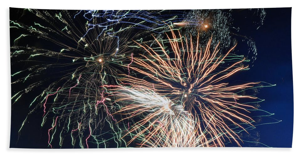Fireworks Hand Towel featuring the photograph Trails Of The 4th by Michael Hills