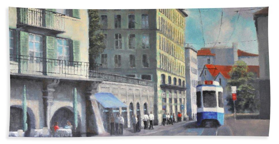 Zurich Bath Sheet featuring the painting Train 11 by Julia Strittmatter