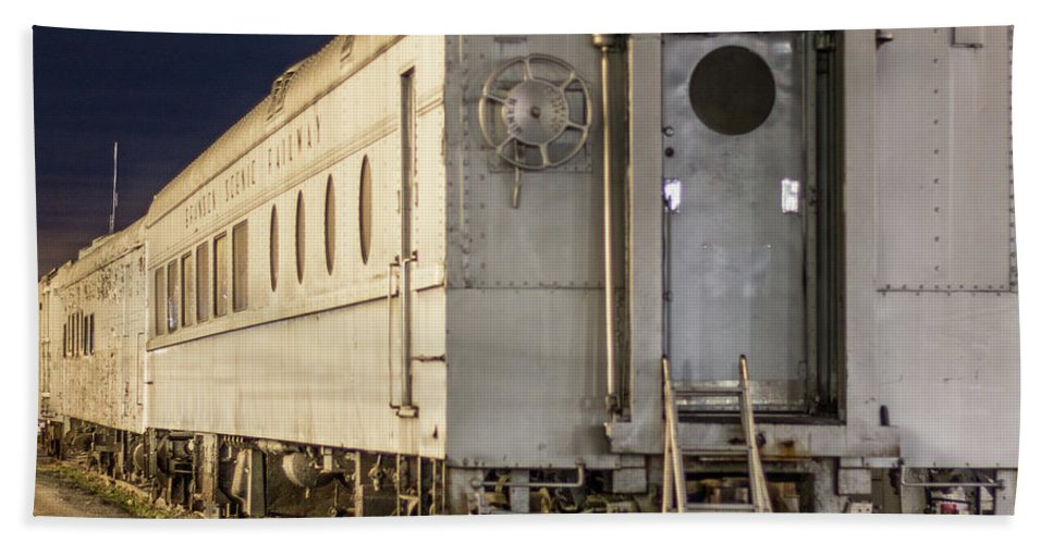 Train Bath Sheet featuring the photograph Train Car And Tracks by Steven Jones