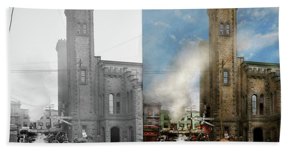Salem Hand Towel featuring the photograph Train Station - Look Out For The Train 1910 - Side By Side by Mike Savad