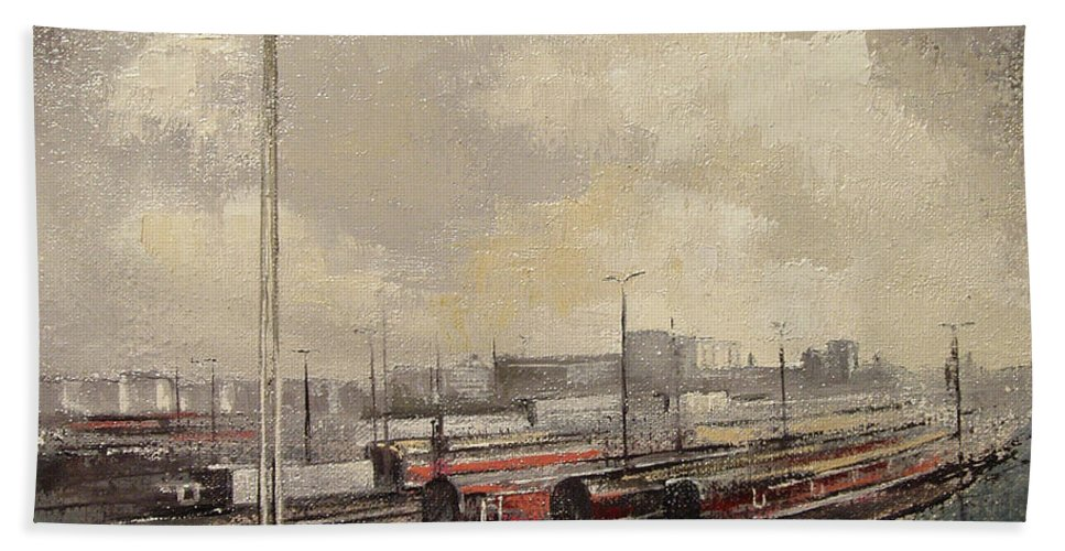 Train Bath Towel featuring the painting Train station by Tomas Castano