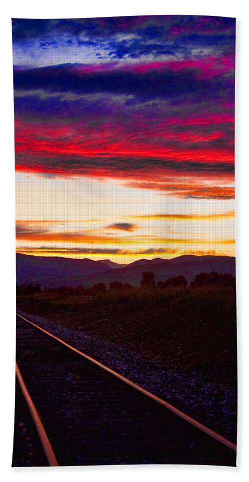 Train Tracks Bath Sheet featuring the photograph Train Track Sunset by James BO Insogna