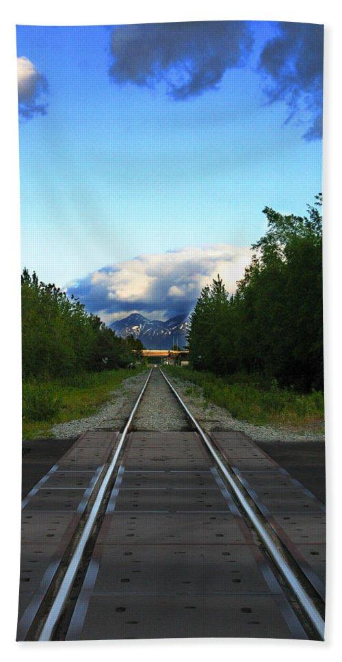 Train Bath Sheet featuring the photograph Train Tracks Anchorage Alaska by Anthony Jones