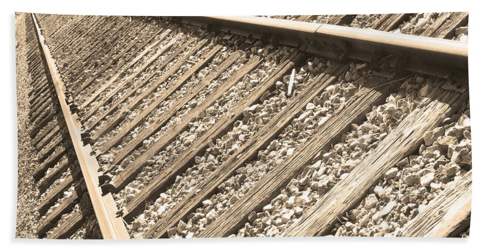 Train Hand Towel featuring the photograph Train Tracks Sepia Triangular by James BO Insogna