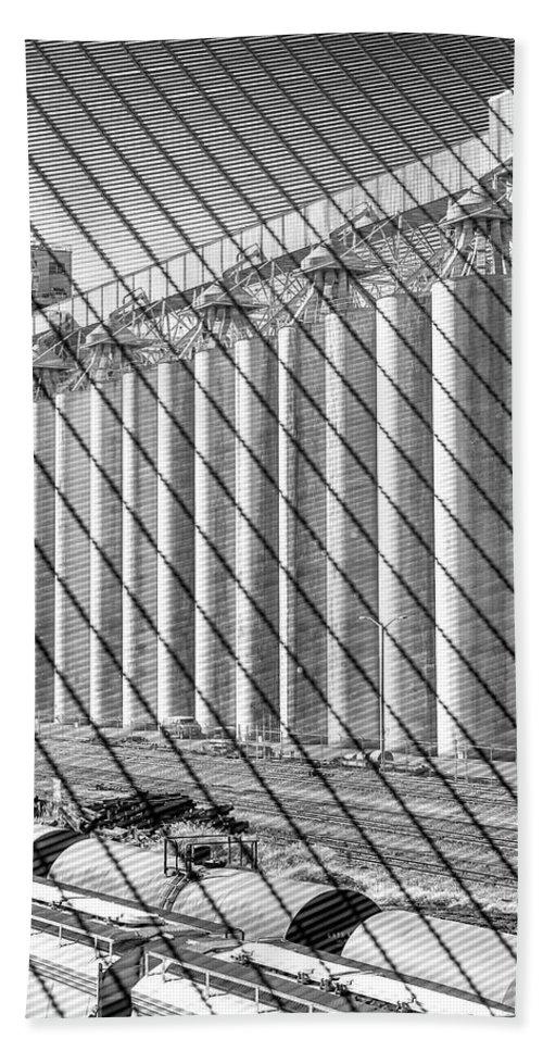 Grain Storage Hand Towel featuring the photograph Train Yard by Joel Cohen