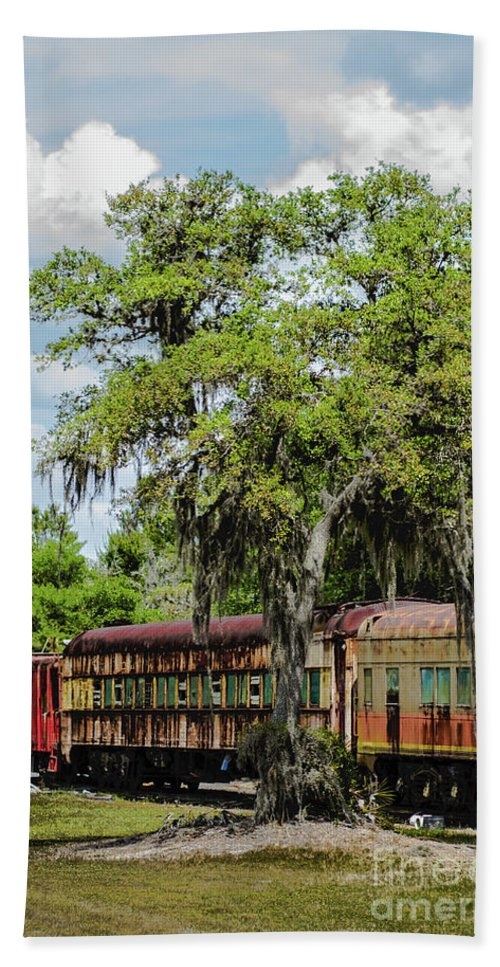 Restored Trains Hand Towel featuring the photograph Train Yard by Patti Powers