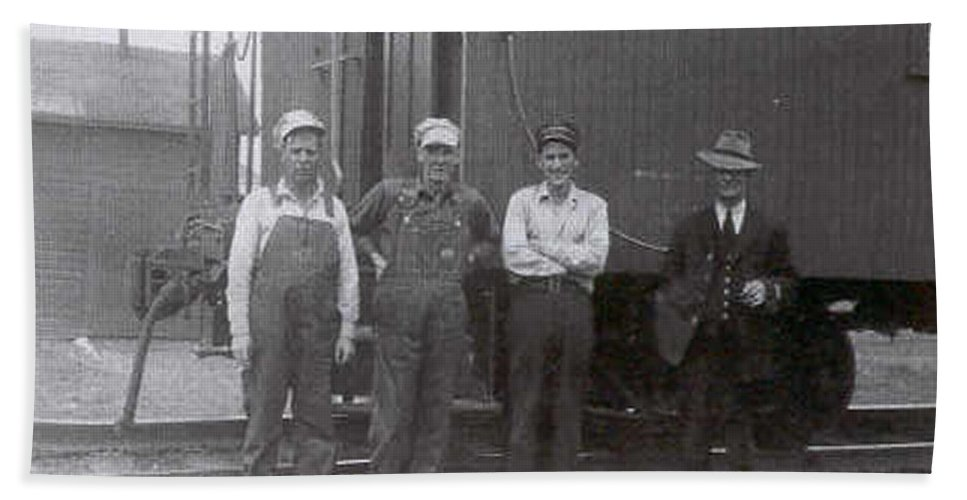 Old Photo Black And White Classic Saskatchewan Pioneers History Train Railway Workers Bath Sheet featuring the photograph Trainsmen by Andrea Lawrence