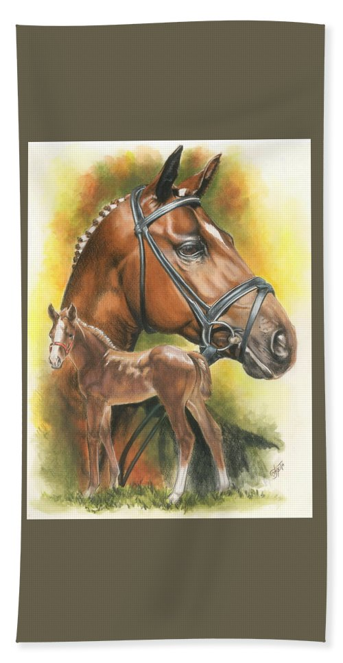 Equus Hand Towel featuring the mixed media Trakehner by Barbara Keith