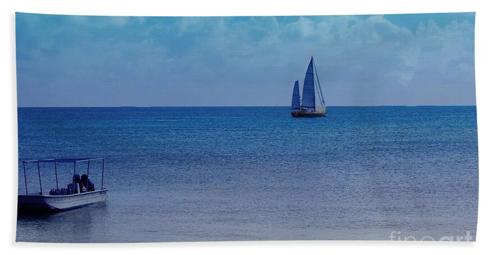 Water Bath Towel featuring the photograph Tranquil Blue by Debbi Granruth